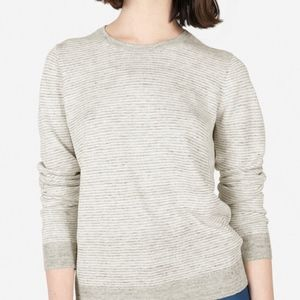 Everlane The Linen Crew Sweater - Gray & White